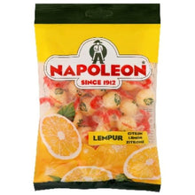 Napoleon Lemon Candy is a wonderful candy with a sweet outer hard shell and a sour lemon sherbet centre.