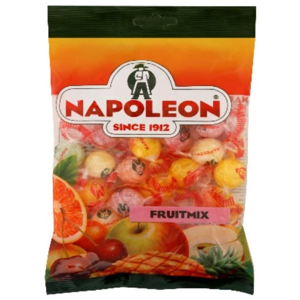 Napoleon Fruit Mix Candy is a wonderful candy with a sweet outer hard shell and an assortment of sour Lemon, Apple, Orange, Pineapple and Cherry sherbet centres.