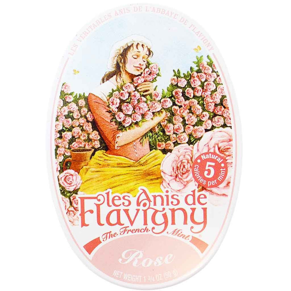 Anis de Flavigny Rose Pastilles are coated with fine layers of sugar and an all-natural Rose flavoring, featuring an aniseed in its center.