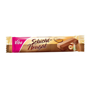 Viba Schicht Nougat Bar is a layered creamy nougat consisting of a light and a dark layer with a large amount of Levantine hazelnuts.