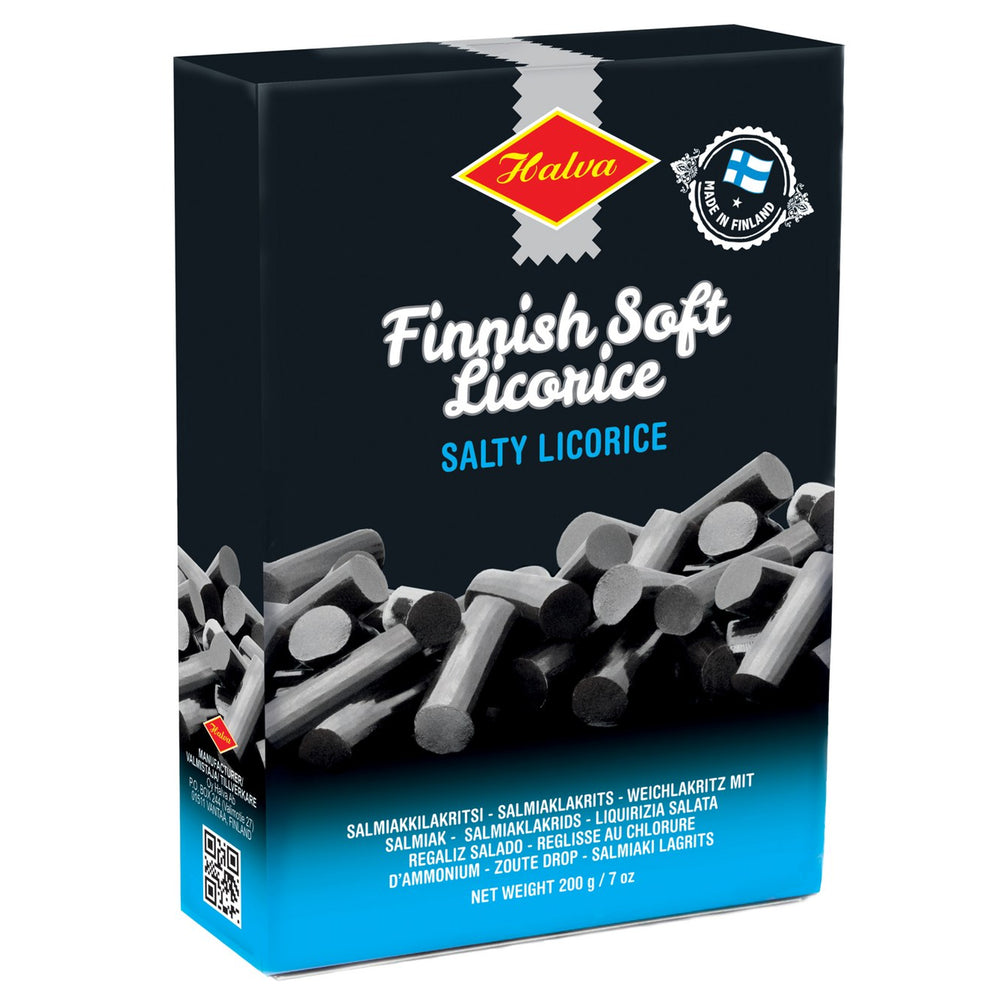 Halva Finnish Soft Salty Licorice combines the rich flavor of traditional sweet Finnish licorice with a touch of salt.