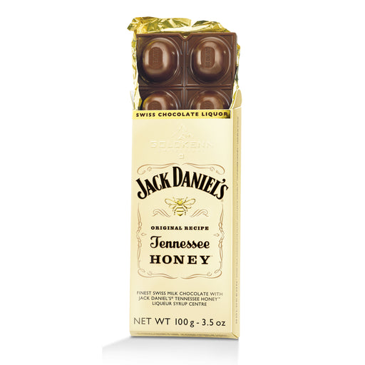 Goldkenn Jack Daniel's Tennessee Honey Milk Chocolate Bar consists of the finest Swiss milk chocolate (37% Cocoa) with a liquid Jack Daniel's Tennessee Honey Liqueur syrup center.