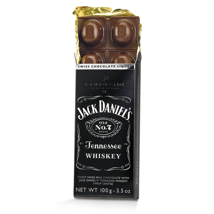 Goldkenn Jack Daniel's Tennessee Whiskey Milk Chocolate Bar consists of the finest Swiss milk chocolate (37% Cocoa) with a liquid Jack Daniel's Tennessee Whiskey syrup center.