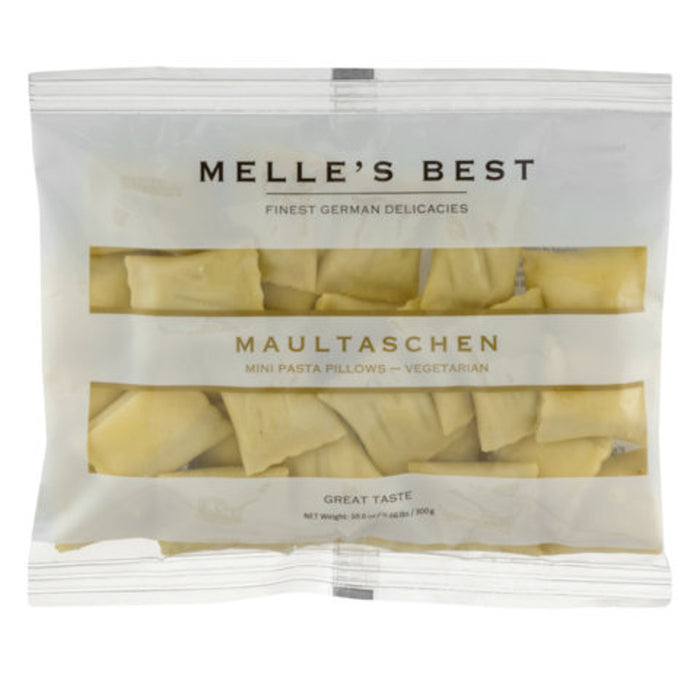 Melle's Best Vegetarian Pasta Pillows are mini ravioli pasta filled with potatoes, onions, spinach, peas, leek, and celery.