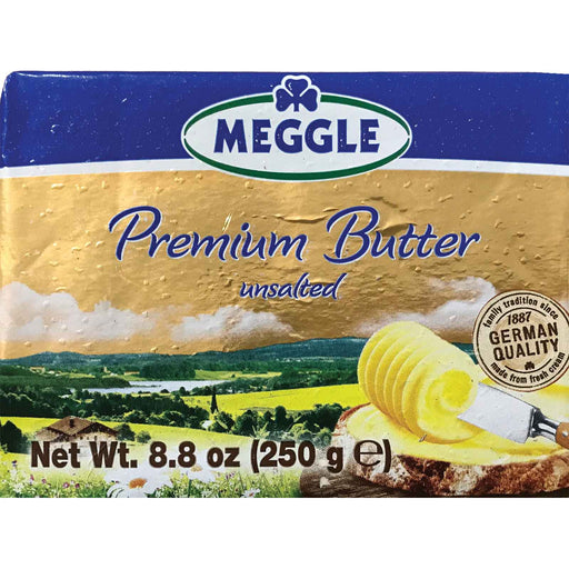 Meggle Alpine Premium Sweet Unsalted Butter is a European style sweet cream butter with 82% fat.