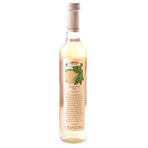 D'Arbo Elderflower Syrup is a highly concentrated essence of elderflower blossoms.