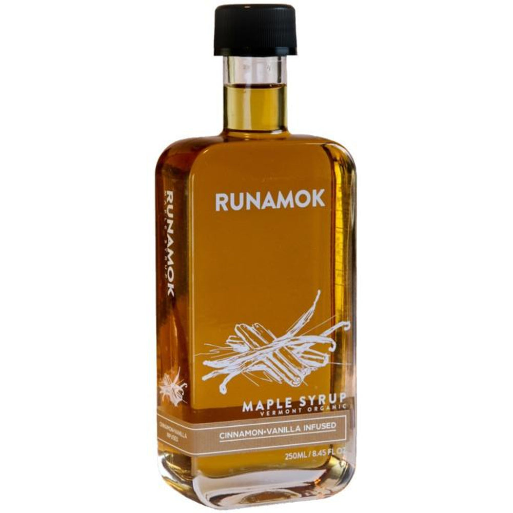 Runamok Maple Cinnamon & Vanilla Infused Maple Syrup is pure organic maple syrup produced in small batches