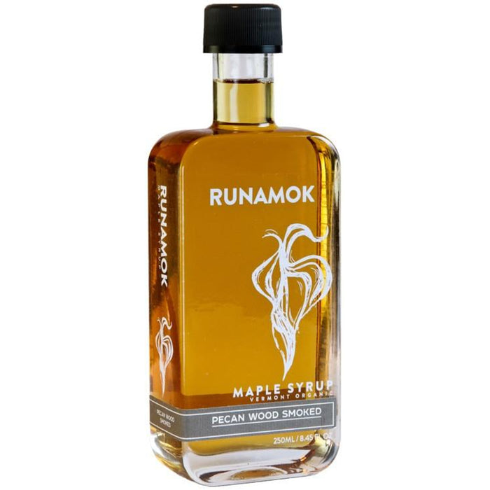 Runamok Maple Smoked Pecan Wood Infused Maple Syrup is pure organic maple syrup produced in small batches