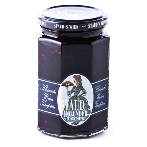Staud's Elderberry Plum Apple Preserves is a Classic Preserve from Vienna, made from hand selected elderberries, plums and apples, with fructose and gelling agent pectin.