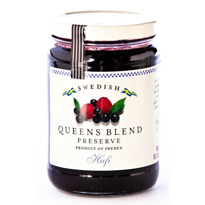 Hafi Queens Blend Preserves is a most balanced marriage of two berries, raspberries and wild blueberries
