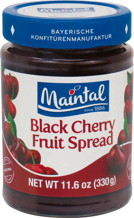 Maintal Black Cherry Preserves is 45% sweet yet tart black cherry fruit, all natural, non-GMO and gluten free.