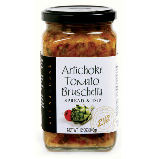 Elki Artichoke Tomato Bruschetta features a zesty, Mediterranean inspired blend of tender, juicy artichokes complemented by sun-ripened tomatoes and garlic, giving this brushetta a refined balance.