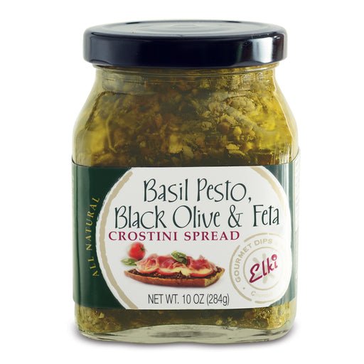 Elki Basil Pesto, Black Olive & Feta Crostini Spread features a flavorful combination of Mediterranean specialties, including parmesan and Romano cheese creating an all-in-one topping!
