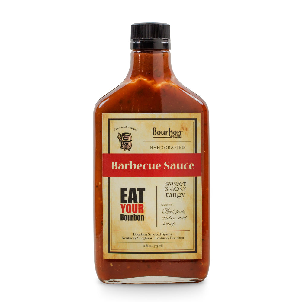 Bourbon Barrel Handcrafted Barbeque Sauce is a sweet, smoky, and tangy barbecue sauce featuring Bourbon Barrel Aged Worcestershire, Bourbon Smoked Salt, Pepper and Paprika