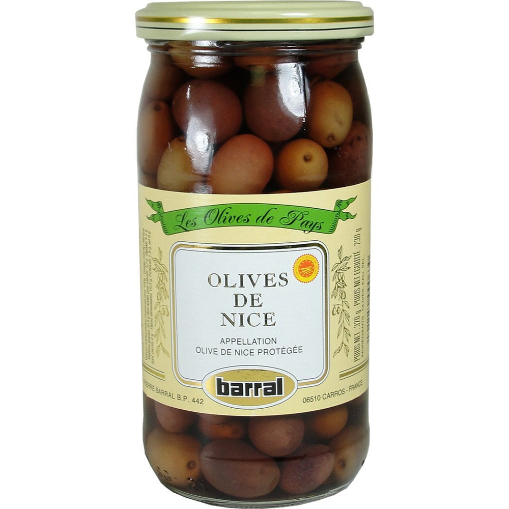Barral Black Nicoise Olives are small black olives which come from one of the biggest olive trees, the cailletier
