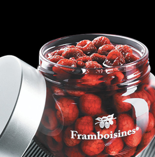 Peureux Framboisines Raspberries in Liqueur in Glass Jar contains raspberries steeped in liqueur and raspberry brandy.