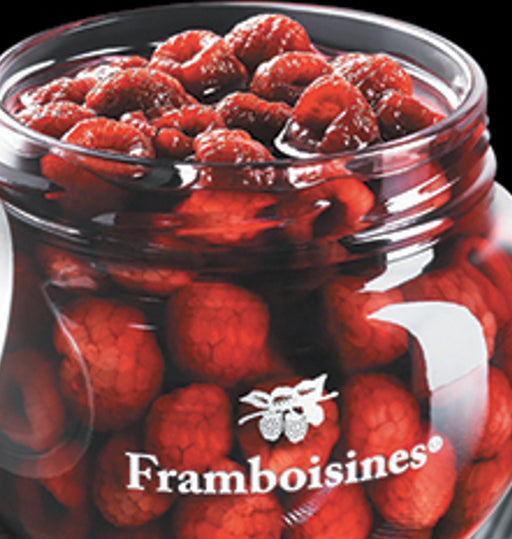 Peureux Framboisines Raspberries in Liqueur 1 L Gift Box contains raspberries steeped in liqueur and raspberry brandy.