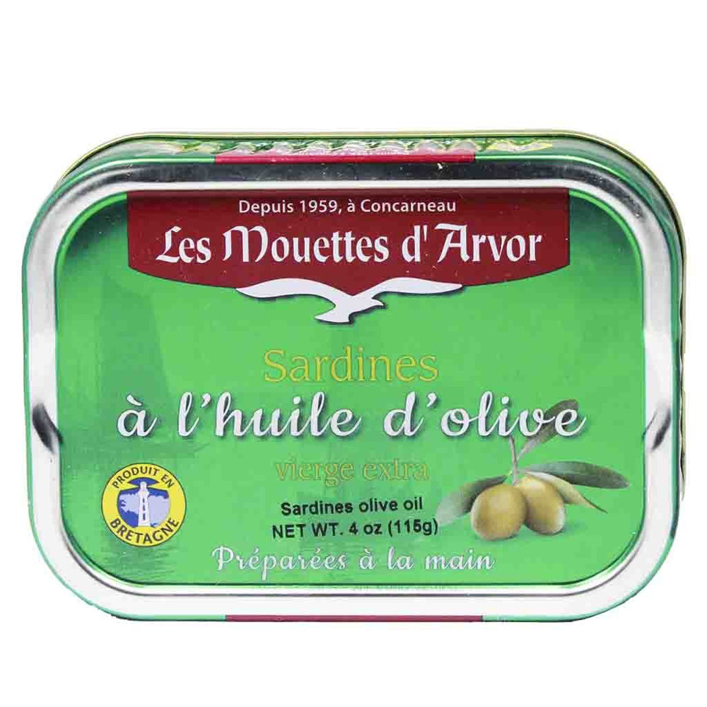 Mouettes d'Arvor Sardines in Extra Virgin Olive Oil are preserved in excellent quality olive oil that helps to soften and dissolve the bones allowing the entire fish to be eaten and enjoyed.