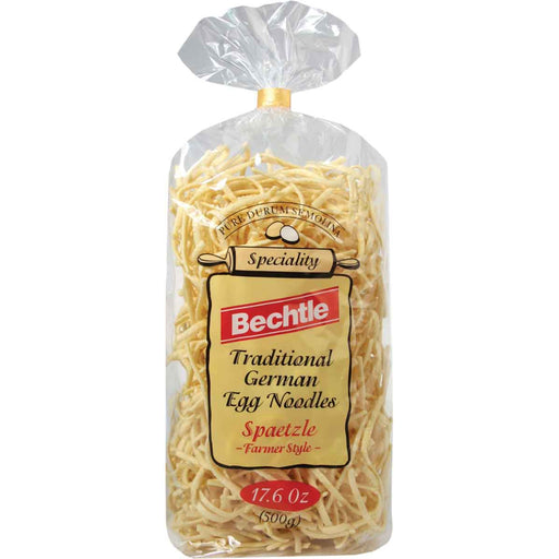 Bechtle Farmer Style Spaetzle Egg Noodles are traditional German egg noodles, made from the best quality durum wheat semolina and GMO free, cage free eggs from Southern Germany on the Swabian Alb, home of the traditional Swabian spaetzle.