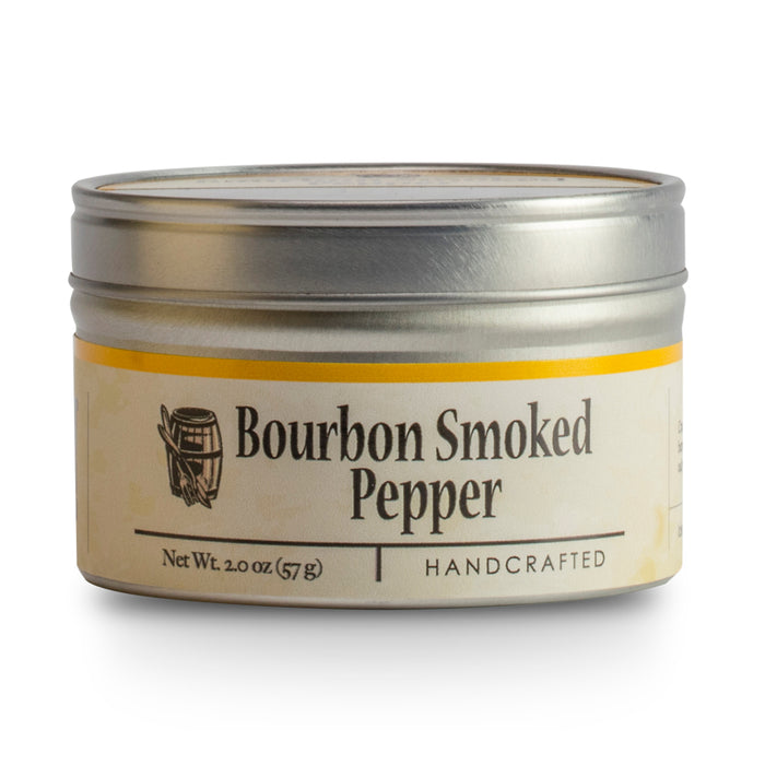 Bourbon Barrel Bourbon Smoked Pepper is a quarter cracked Malabar pepper that is slow smoked by hand using barrel staves that once held some of Kentucky's finest bourbon