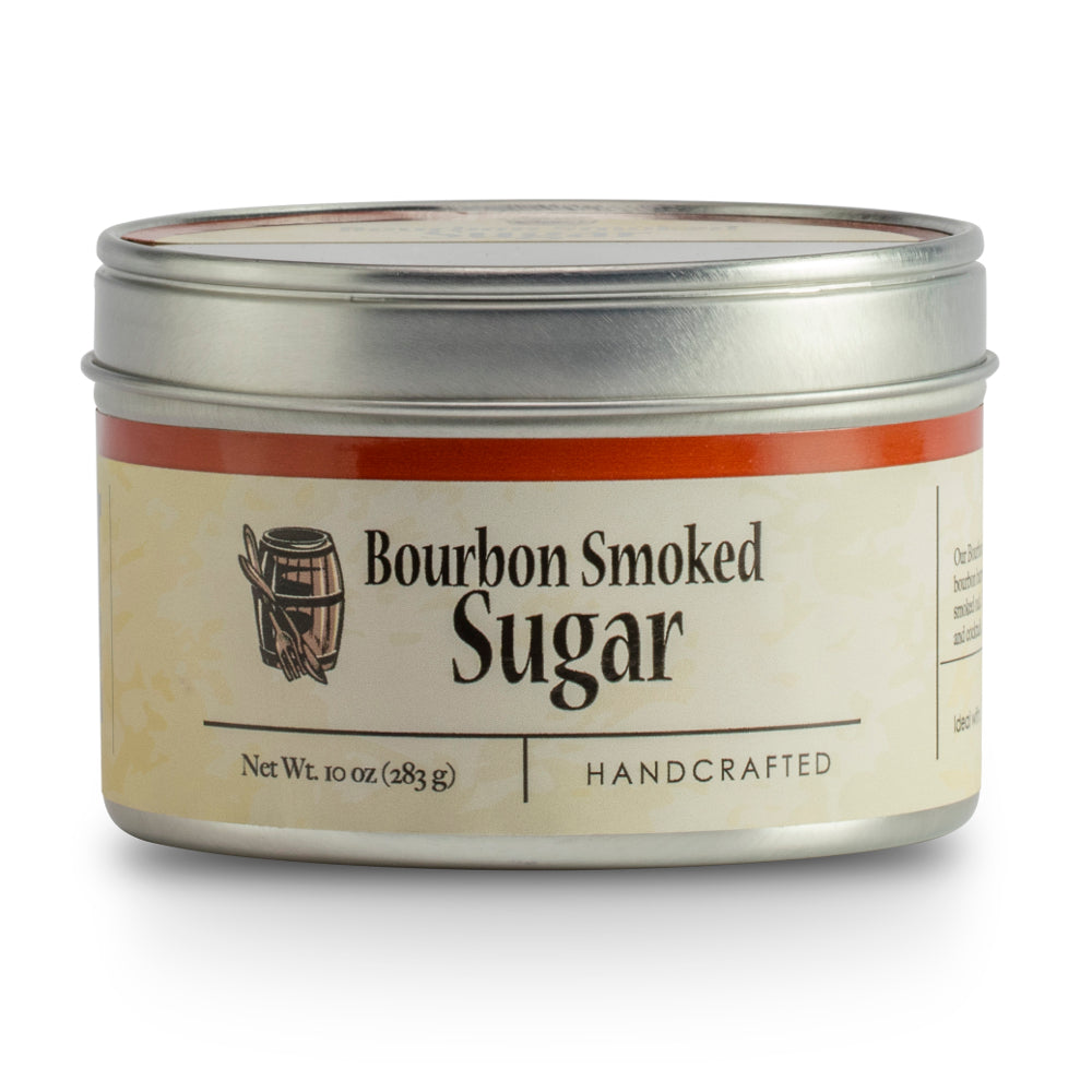 Bourbon Barrel Bourbon Smoked Sugar is a raw demerara sugar smoked with re-purposed bourbon barrel staves. It has sweet caramel flavors and the richness of smoked oak.