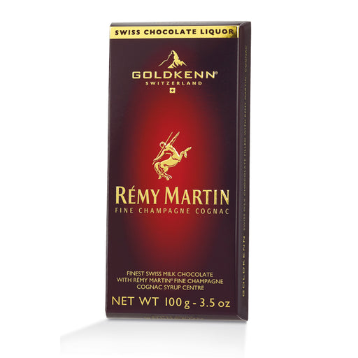Goldkenn Rémy Martin Cognac Milk Chocolate Bar consists of the finest Swiss milk chocolate (37% Cocoa) with a liquid Rémy Martin Fine Champagne Cognac syrup center.