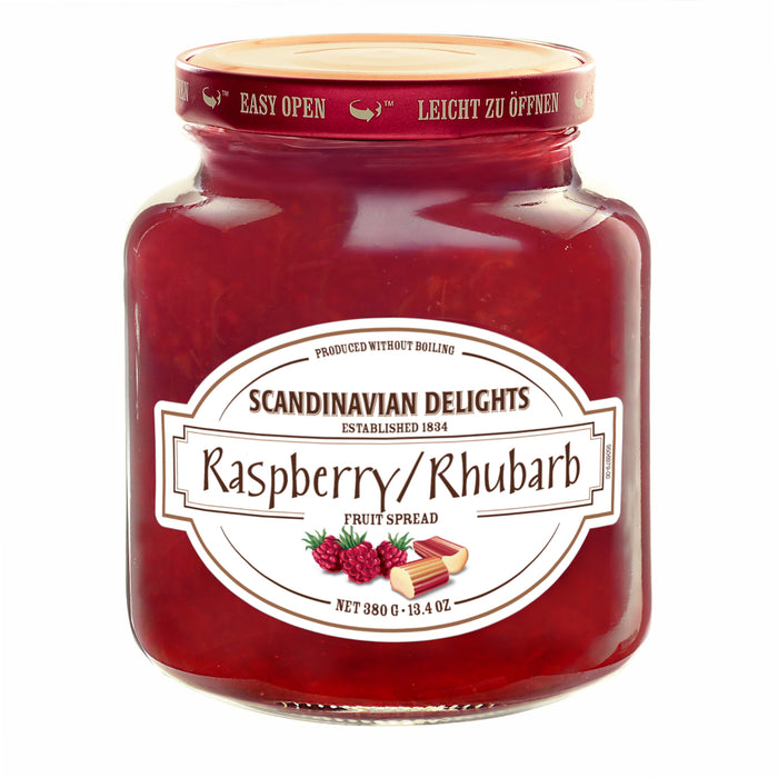Scandinavian Delights Raspberry Rhubarb Fruit Spread is a beautiful combination of perfectly ripe Raspberries and Rhubarb