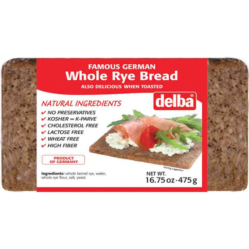 Delba German Whole Rye Bread has no preservatives and contains all natural ingredients.