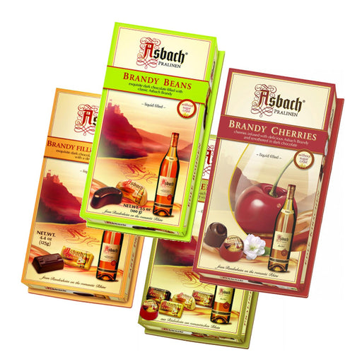 Totally Asbach Collection contains 4 favorite small gift boxes, allowing you to try each type of Asbach chocolates: Brandy Beans, Brandy Squares, Cherries in Brandy, and a Variety Assortment.