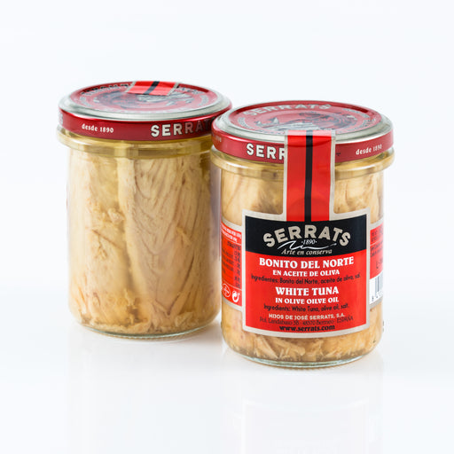 Serrats Bonito del Norte Tuna Jar contains the famed Bonito del Norte Tuna, wild-caught in the Bay of Biscay, and delicately preserved in Spanish Extra Virgin Olive Oil.