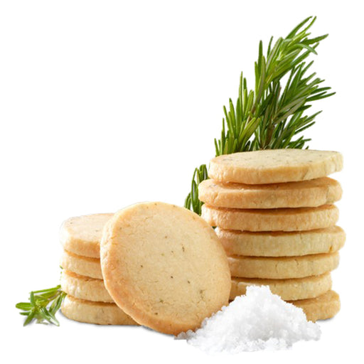 Lark Salted Rosemary Shortbread cookies are slightly crisper and thinner than a traditional shortbread cookie.