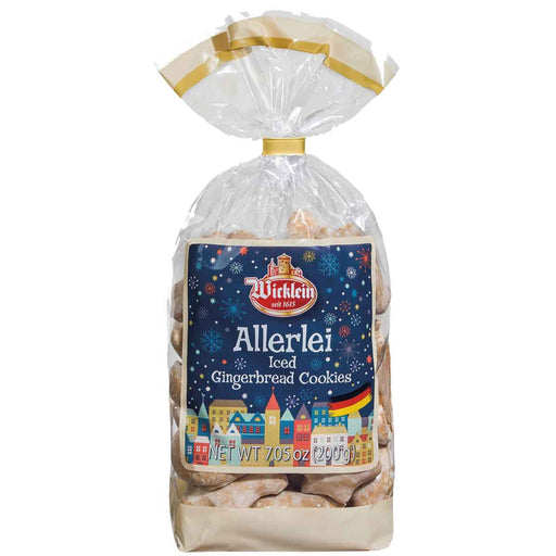 Wicklein Allerlei Lebkuchen are delicate gingerbread cookies with a sugar glaze that come in assorted Christmas shapes