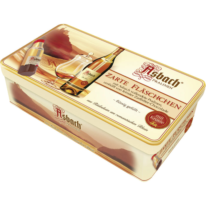Asbach Chocolate Bottles in Tin - 16 Pieces