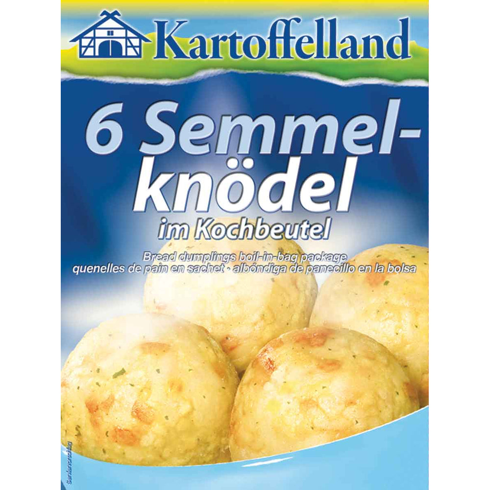 Kartoffelland 6 Boil-in-Bag Bread Dumplings are original German potato dumplings with breads mixed in, in Bavarian fashion