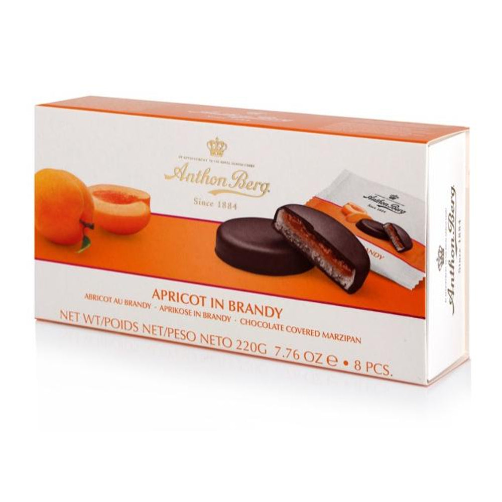 Anthon Berg Chocolate with Marzipan & Apricot in Brandy Filling showcases the marriage of Fruit in Marzipan that has stood the test of time and we think will live happily ever after.