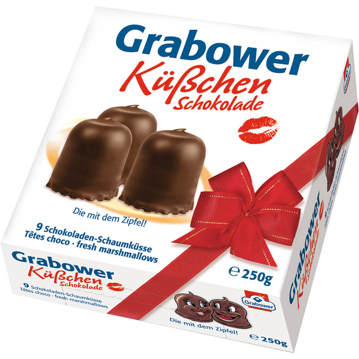 Grabower Küsschen Chocolate Kisses, Küsschen Schokolade in German, are a pure indulgence with the most delicious milk chocolate, a topping of barn egg meringue (marshmallow) and a crunchy waffle base.