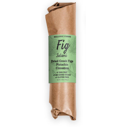"Hellenic Farms Pistachio & Cinnamon Fig Salami is a vegan, 100% plant-based ""salami"" made with premium Greek Figs, Pistachios and Cinnamon."