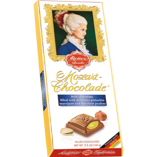 Reber Constanze Milk Chocolate Bar contains the finest gourmet pistachio marzipan made from fresh green pistachios, almonds and rich hazelnut praline covered with two layers of premium milk chocolate.