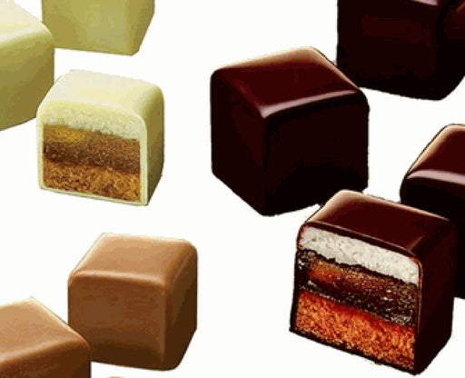 Lambertz Dominos Auslese, known in Germany as Dominosteine, are an assortment of double-filled fruity Aachen dominos with 3 fillings, encased in exquisite dark chocolate, smooth milk chocolate or white chocolate.