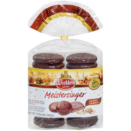 Wicklein Meistersinger Dark Chocolate Lebkuchen contains 14 rounds of fine Nuremberg lebkuchen with 20% nuts and kernels covered with dark chocolate.