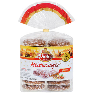 Wicklein Meistersinger Glazed Lebkuchen contains 14 rounds of fine Nuremberg lebkuchen with 20% nuts and kernels covered with a sugar glaze.