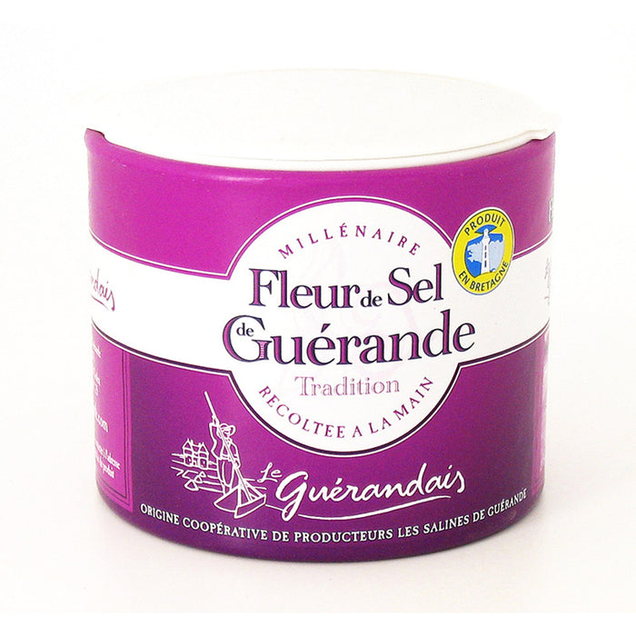 Le Guérandais Fleur de Sel de Guérande Sea Salt is composed of snowy white crystals, with no additives