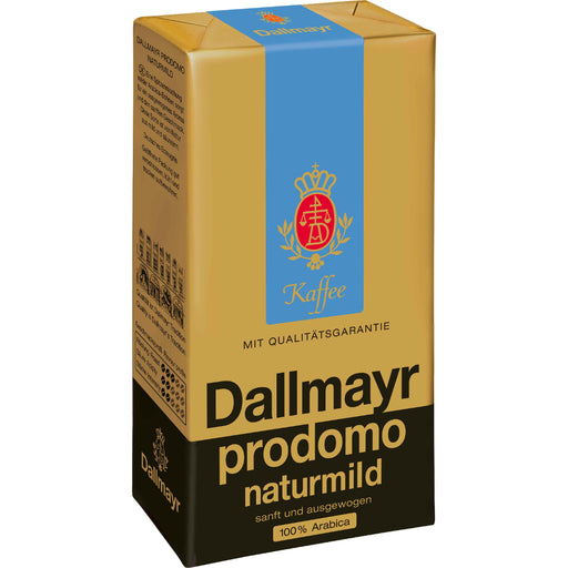 Dallmayr Prodomo Naturmild Ground Coffee is a finely tuned blend of special arabica highland coffee beans that is naturally low in acidity but with a full caffeine content.