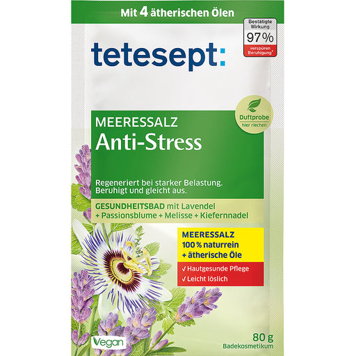 Tetesept Anti-Stress Sea Salt Bath is a special bath additive based on a healthy sea salt base for the regeneration of stress and heavy exercise