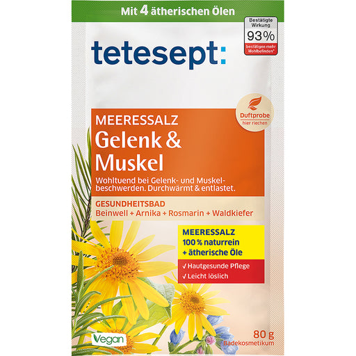 Tetesept Joint & Muscle Sea Salt Bath is a special bath additive based on a healthy sea salt base for the gentle relief and warmth of stressed muscles and joint complaints