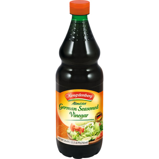 Hengstenberg Altmeister German Seasoned Vinegar is a full-bodied, aromatic red wine vinegar, based on a proprietary, classic blend of brandy vinegar (German: Branntwein) and rich red wines, spices and herbs.