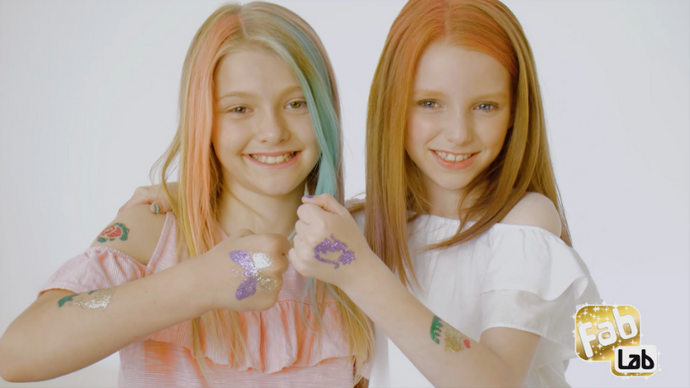 FabLab Advert featuring Glitter Tattoos, Nail Art and Hairlights