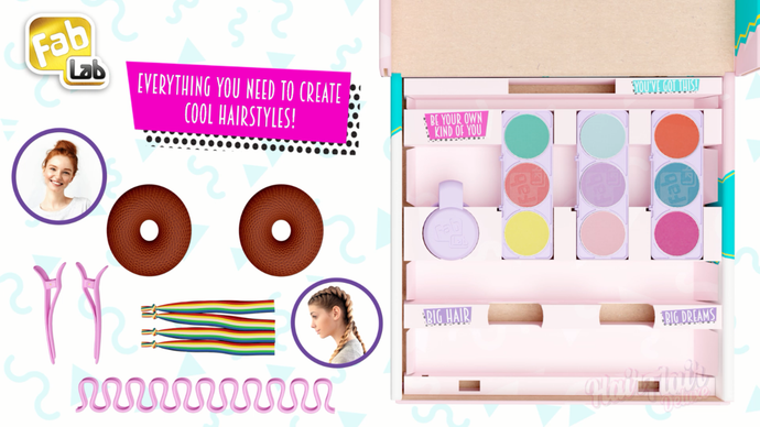 The NEW Hair Flair Deluxe kit from FabLab! With 9 vibrant hair chalk colours and accessories!