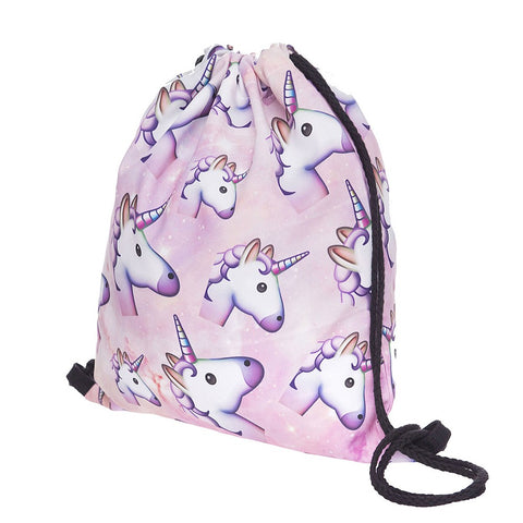 Light Pink Unicorn Drawstring Bag