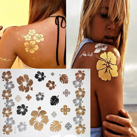 Body Art in Gold and Silver Flower